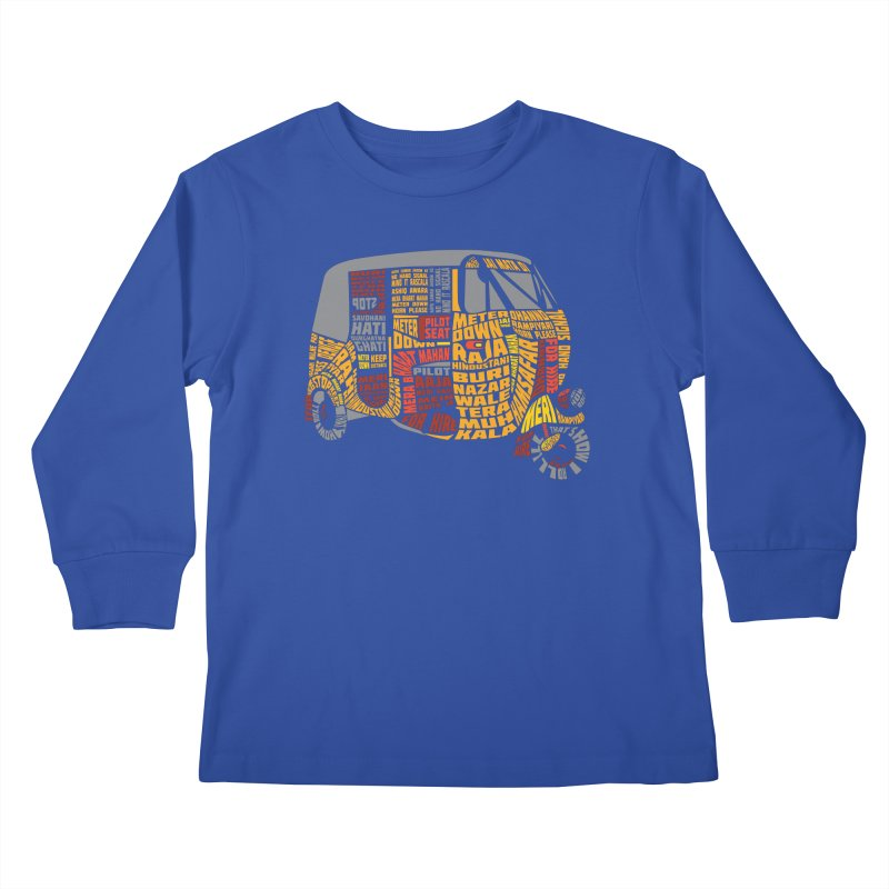 Indian Auto Typography Kids Longsleeve T-Shirt by Saksham Artist Shop