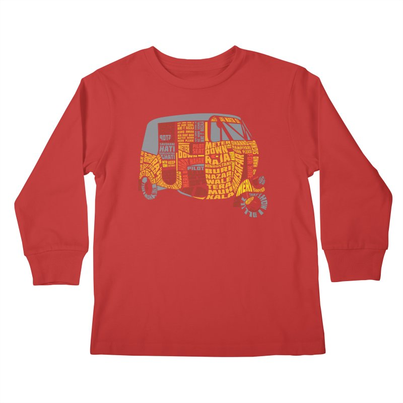Indian Auto Typography Kids Longsleeve T-Shirt by saksham's Artist Shop