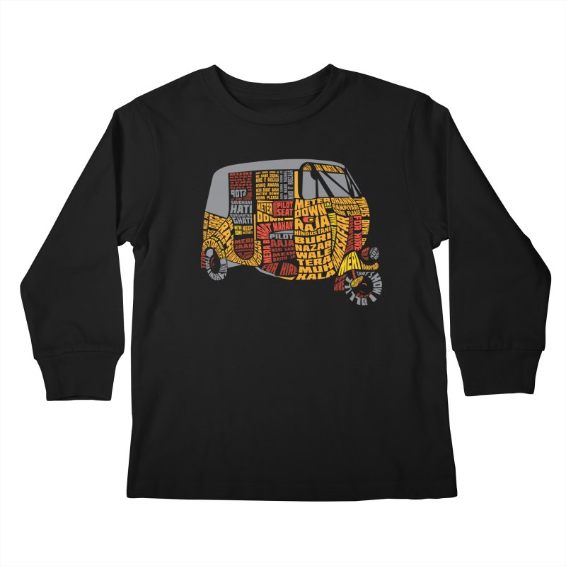 Indian Auto Typography Kids Longsleeve T-Shirt by saksham's Artist Shop