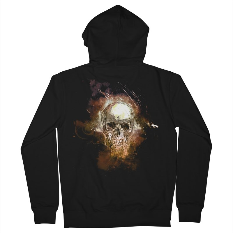 Metallic Skull Men's French Terry Zip-Up Hoody by Saksham Artist Shop