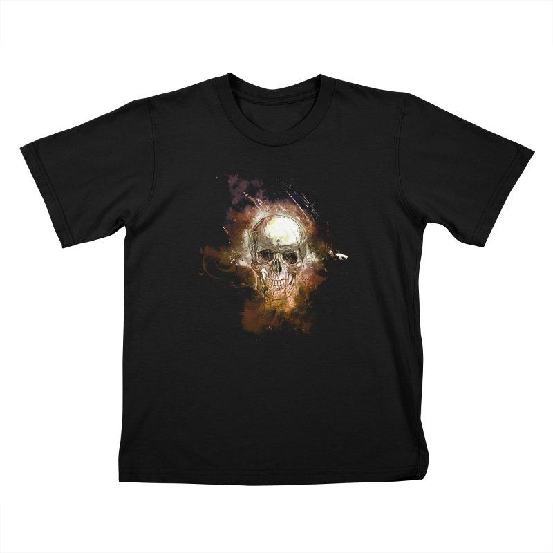 Metallic Skull Kids T-Shirt by saksham's Artist Shop