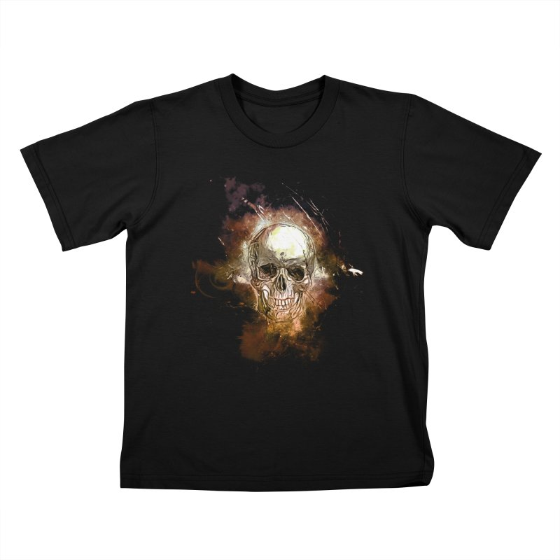 Metallic Skull Kids T-Shirt by saksham's Artist Shop