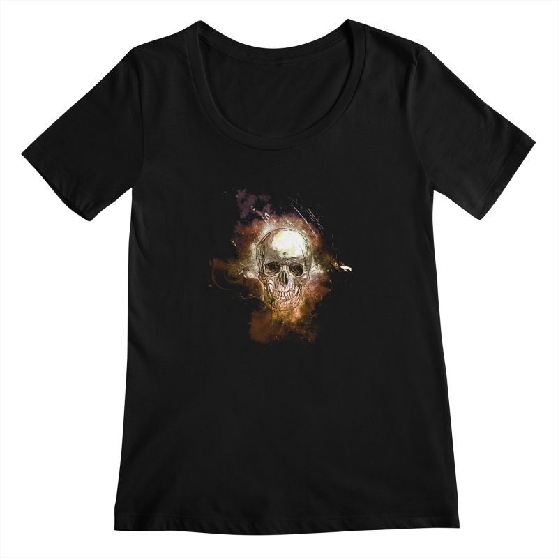 Metallic Skull Women's Scoopneck by saksham's Artist Shop