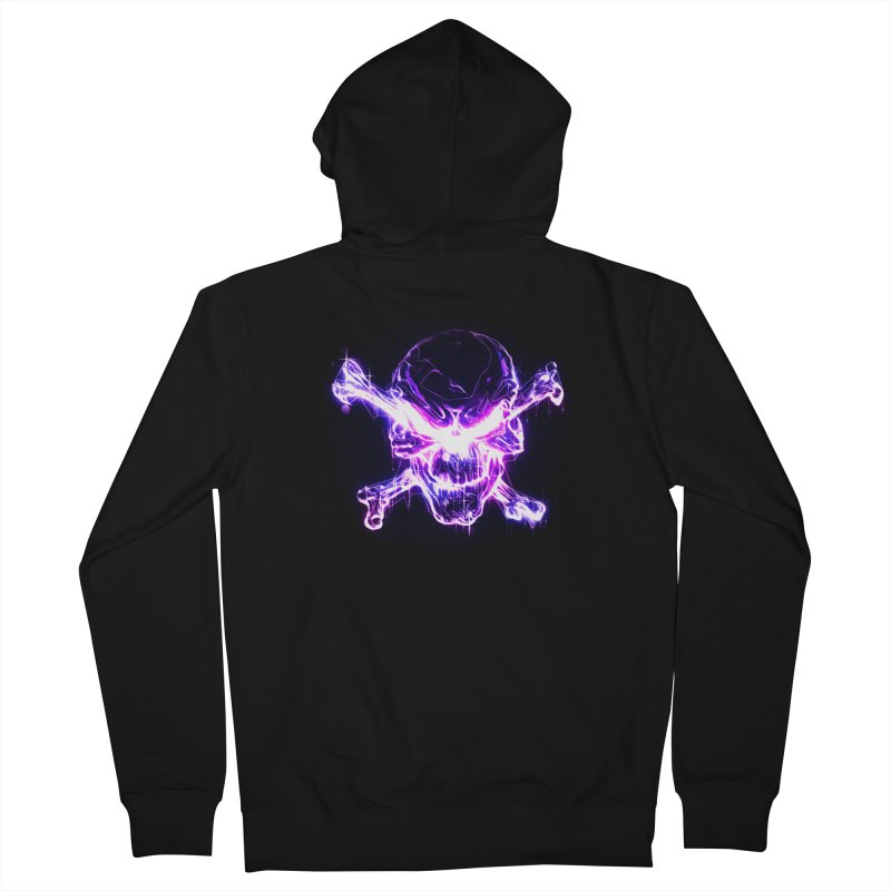 neon skull Women's French Terry Zip-Up Hoody by saksham's Artist Shop