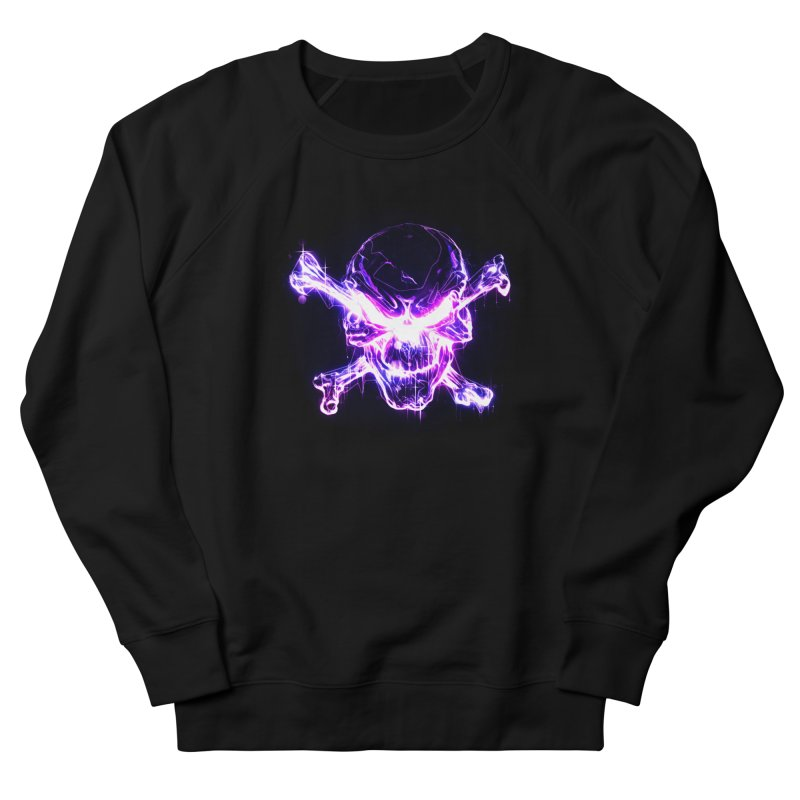 neon skull Men's French Terry Sweatshirt by saksham's Artist Shop
