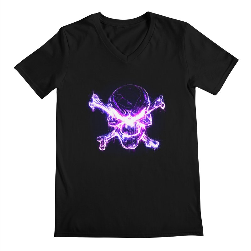neon skull Men's Regular V-Neck by saksham's Artist Shop