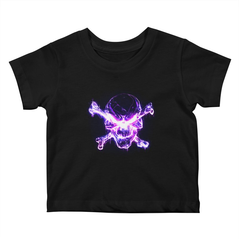 neon skull Kids Baby T-Shirt by Saksham Artist Shop