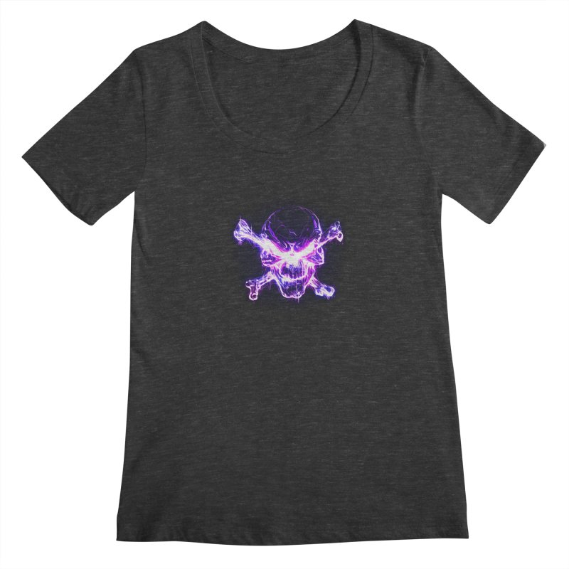 neon skull Women's Scoopneck by saksham's Artist Shop