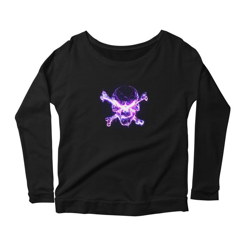 neon skull Women's Scoop Neck Longsleeve T-Shirt by Saksham Artist Shop