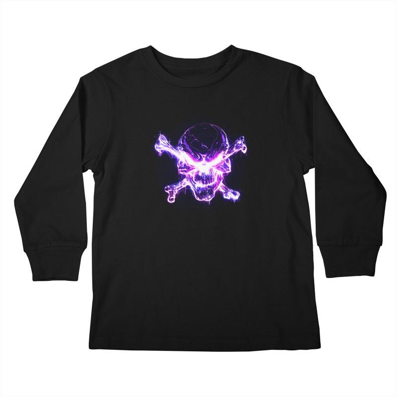 neon skull Kids Longsleeve T-Shirt by Saksham Artist Shop