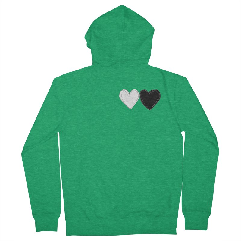 Hearts Women's French Terry Zip-Up Hoody by Designs by sakubik