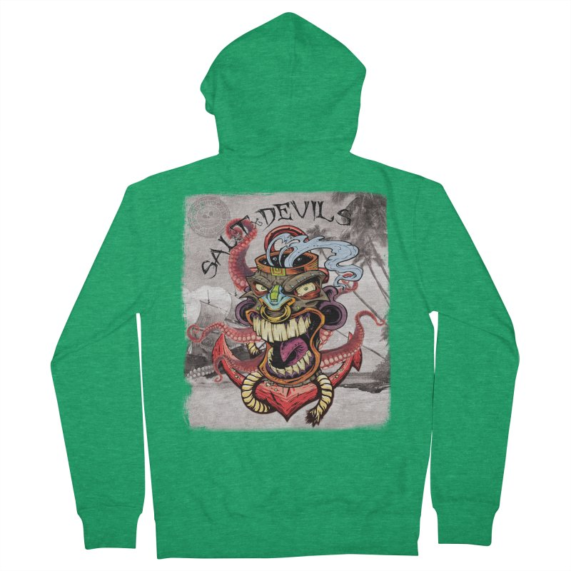 Salt Devils - Tiki Kraken Anchor Women's Zip-Up Hoody by Salt Devils