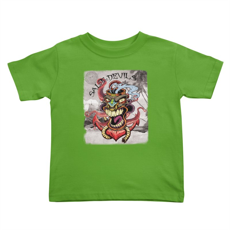 Salt Devils - Tiki Kraken Anchor Kids Toddler T-Shirt by Salt Devils