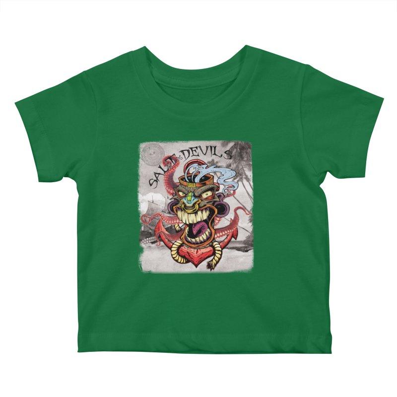 Salt Devils - Tiki Kraken Anchor Kids Baby T-Shirt by Salt Devils