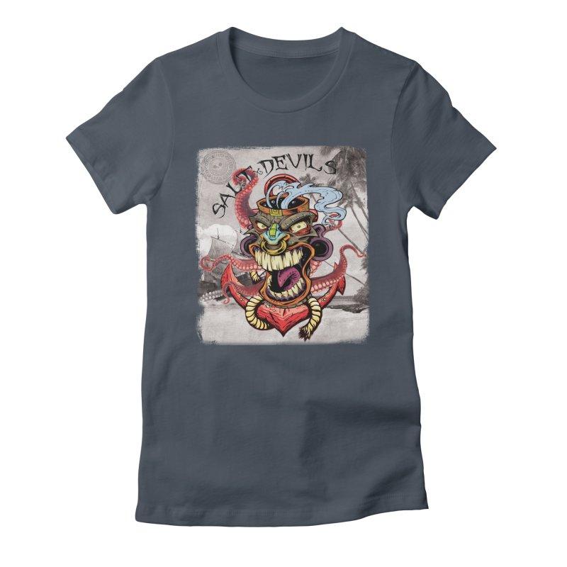 Salt Devils - Tiki Kraken Anchor Women's T-Shirt by Salt Devils