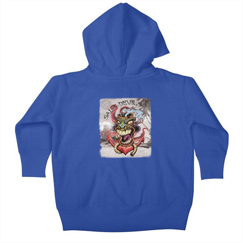 Salt Devils - Tiki Kraken Anchor Kids Baby Zip-Up Hoody by Salt Devils