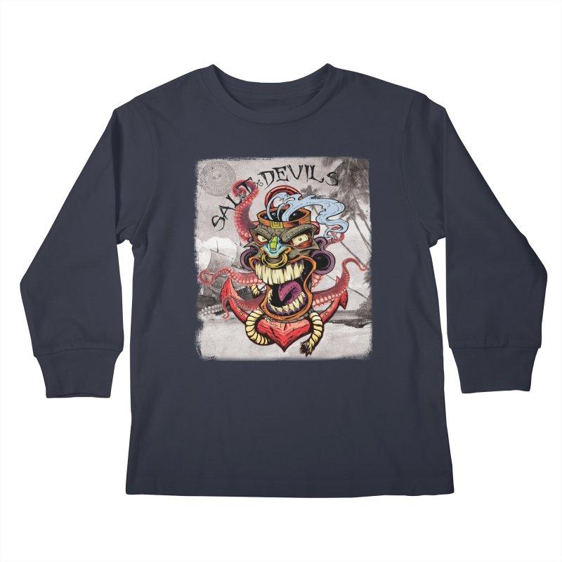 Salt Devils - Tiki Kraken Anchor Kids Longsleeve T-Shirt by Salt Devils