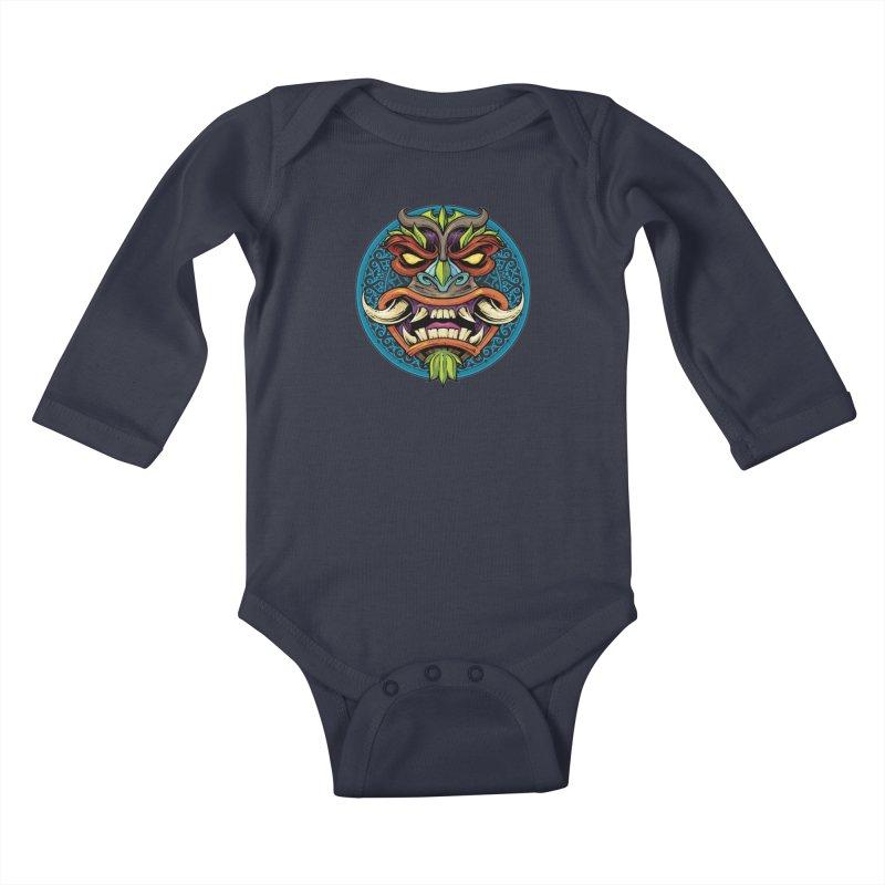 Salt Devils - Tiki Horn Kids Baby Longsleeve Bodysuit by Salt Devils