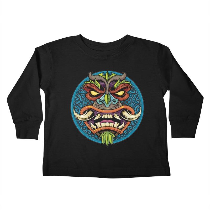 Salt Devils - Tiki Horn Kids Toddler Longsleeve T-Shirt by Salt Devils