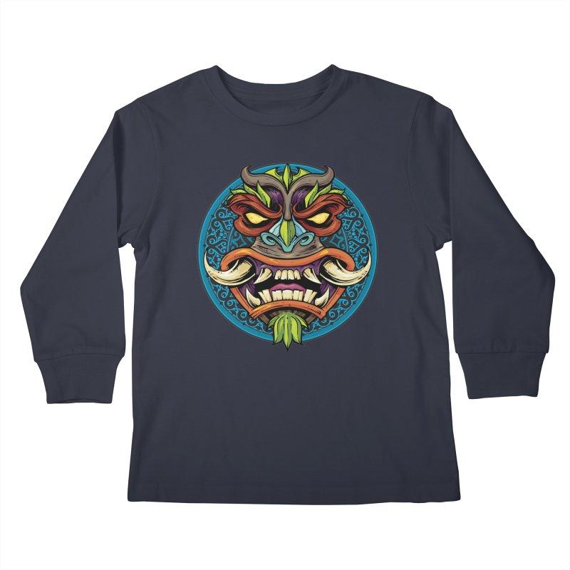 Salt Devils - Tiki Horn Kids Longsleeve T-Shirt by Salt Devils