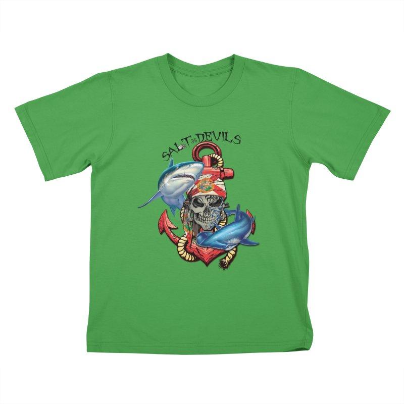 Salt Devils - Florida Shark Anchor Kids T-Shirt by Salt Devils