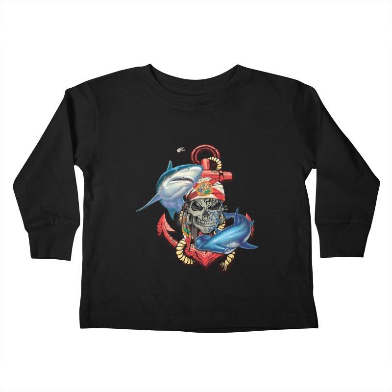 Salt Devils - Florida Shark Anchor Kids Toddler Longsleeve T-Shirt by Salt Devils