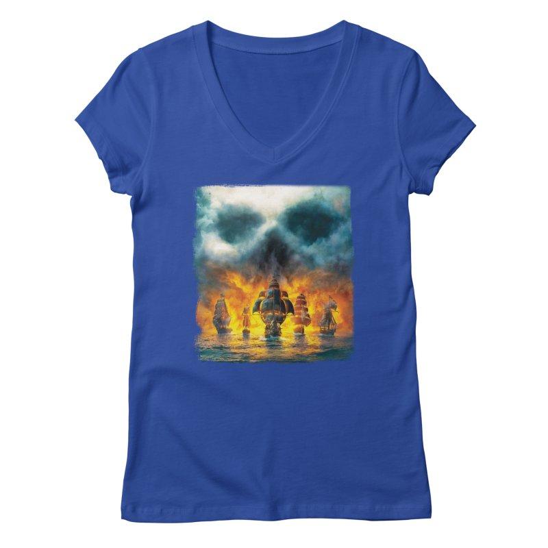 Salt Devils - Ghost Ship Women's V-Neck by Salt Devils