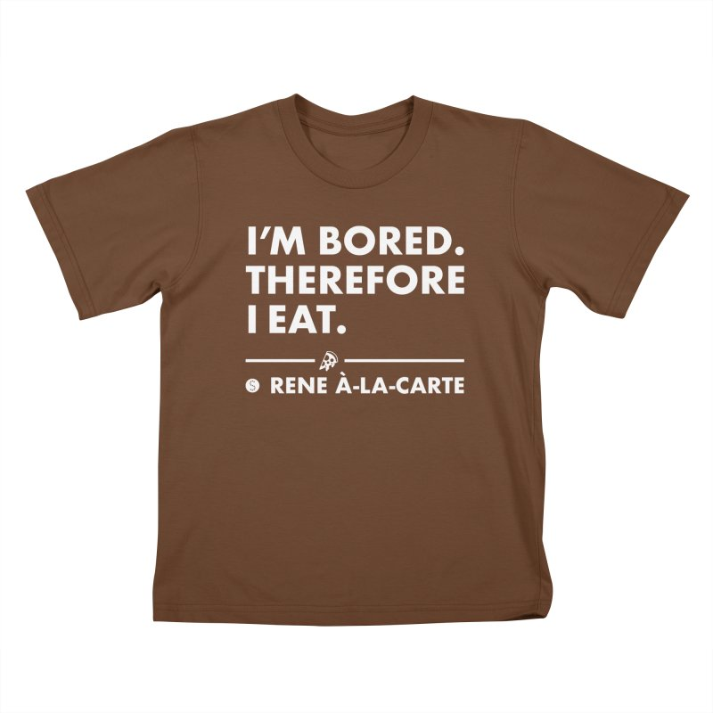 I'm Bored. Therefore I Eat (Darks) Kids T-Shirt by Salty Shirts