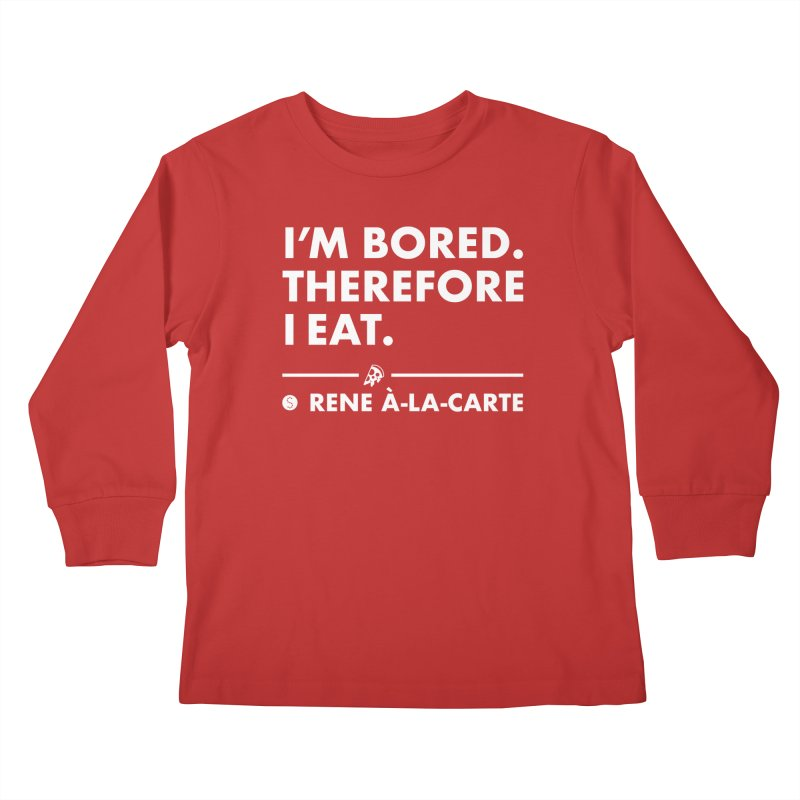 I'm Bored. Therefore I Eat (Darks) Kids Longsleeve T-Shirt by Salty Shirts