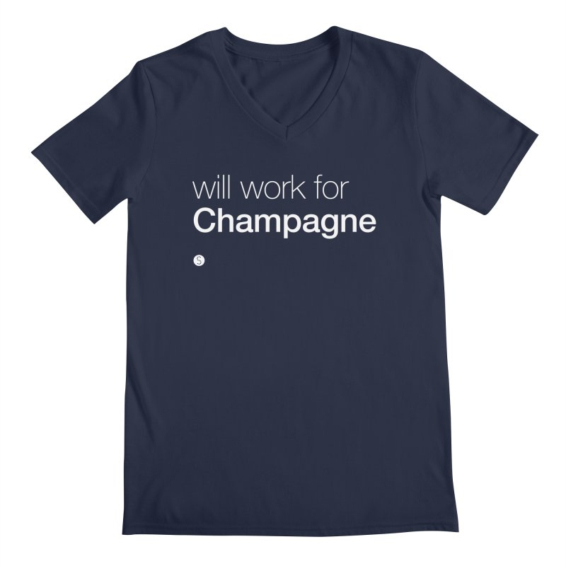 Will Work For Champagne Men's Regular V-Neck by Salty Shirts