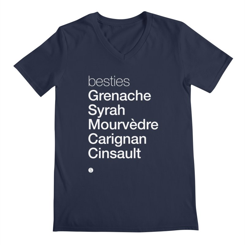 Besties. Grenache, Syrah, Mourvèdre, Carignan, Cinsault Men's Regular V-Neck by Salty Shirts