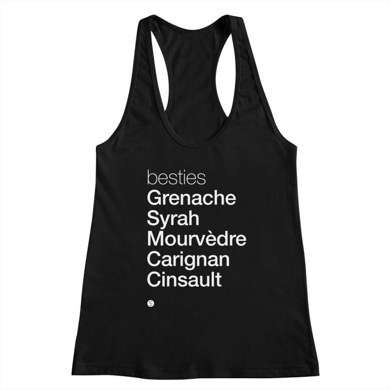 Besties. Grenache, Syrah, Mourvèdre, Carignan, Cinsault Women's Racerback Tank by Salty Shirts