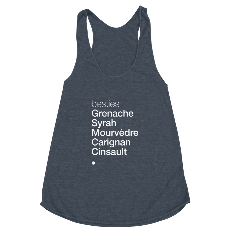 Besties. Grenache, Syrah, Mourvèdre, Carignan, Cinsault Women's Racerback Triblend Tank by Salty Shirts