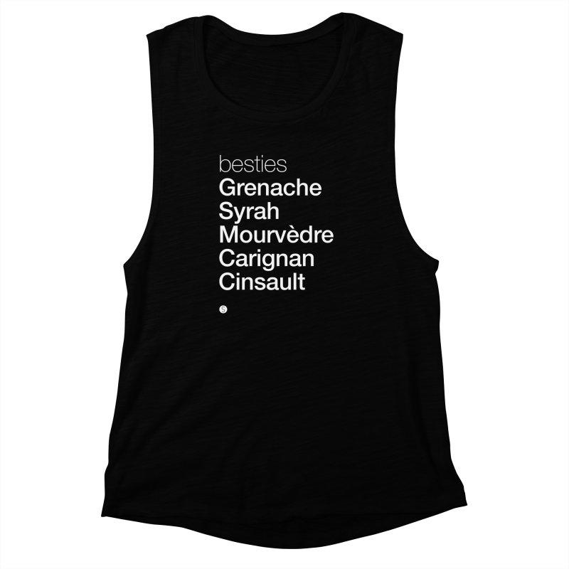 Besties. Grenache, Syrah, Mourvèdre, Carignan, Cinsault Women's Muscle Tank by Salty Shirts
