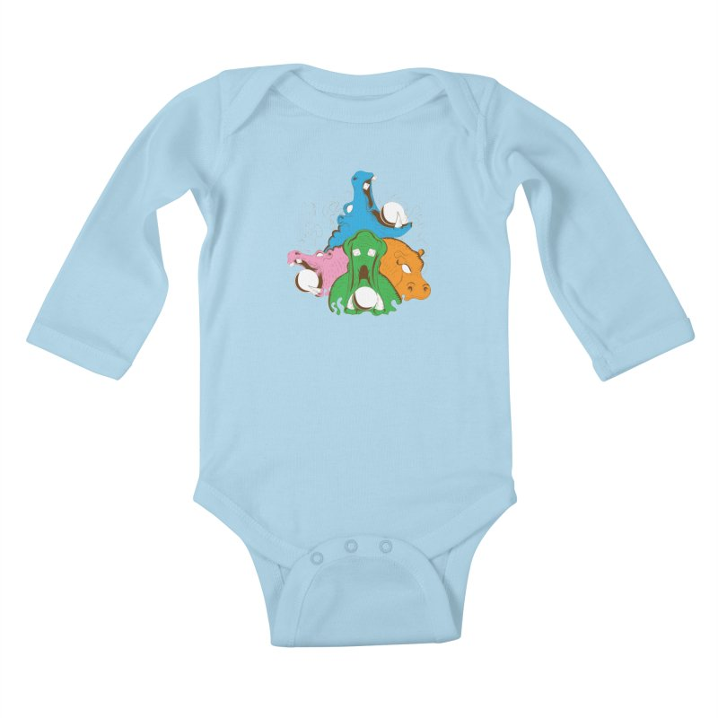 Hangry Hangry Hippos Kids Baby Longsleeve Bodysuit by The Salty Studios @ Threadless