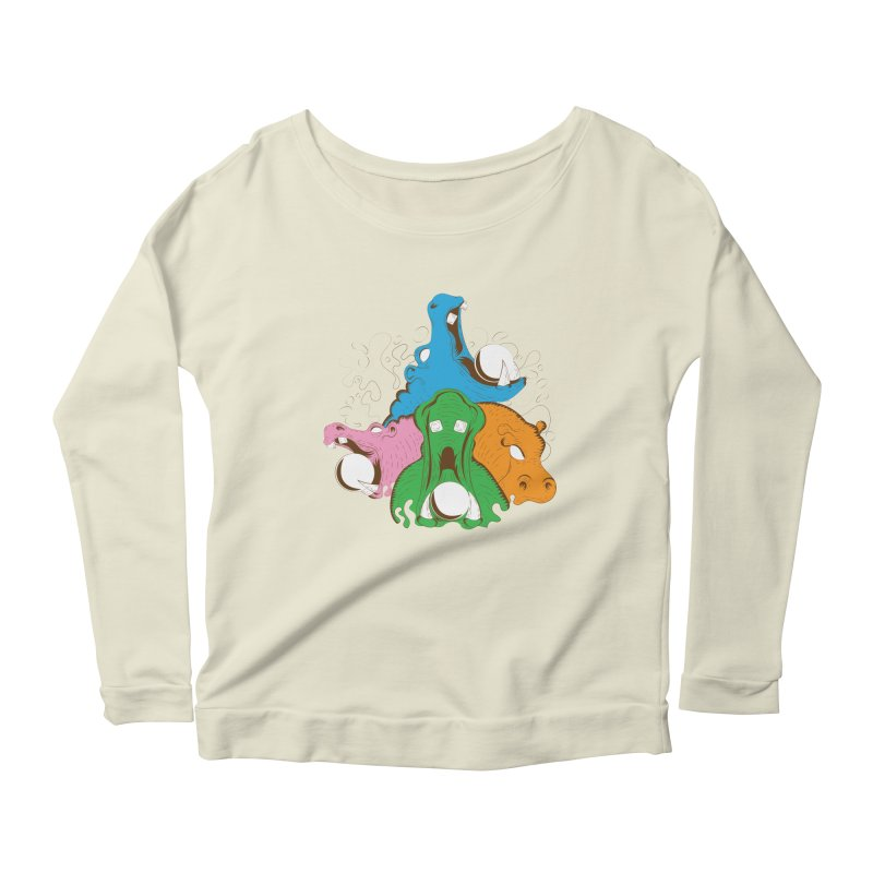 Hangry Hangry Hippos Women's Longsleeve Scoopneck  by The Salty Studios @ Threadless