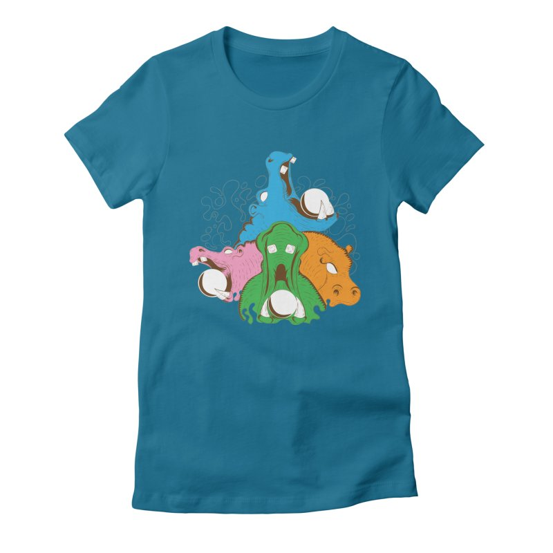 Hangry Hangry Hippos Women's Fitted T-Shirt by The Salty Studios @ Threadless