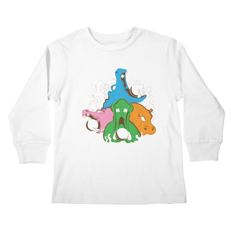 Hangry Hangry Hippos Kids Longsleeve T-Shirt by The Salty Studios @ Threadless
