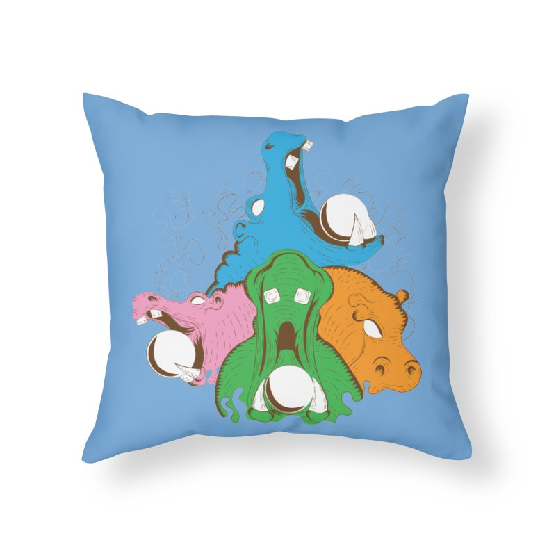 Hangry Hangry Hippos Home Throw Pillow by The Salty Studios @ Threadless