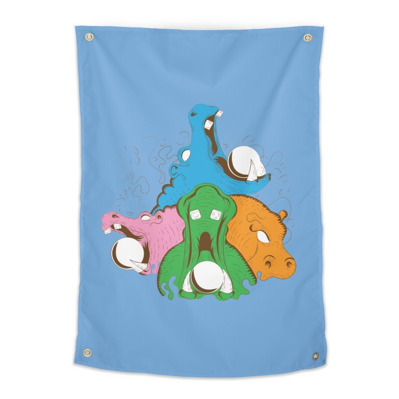 Hangry Hangry Hippos Home Tapestry by The Salty Studios @ Threadless