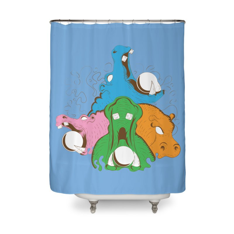 Hangry Hangry Hippos Home Shower Curtain by The Salty Studios @ Threadless