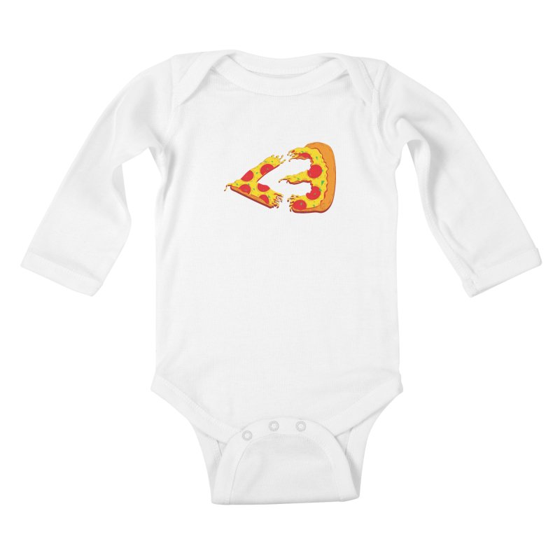 PizzaMoji Kids Baby Longsleeve Bodysuit by The Salty Studios @ Threadless