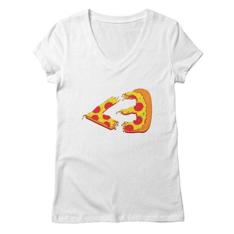 PizzaMoji Women's V-Neck by The Salty Studios @ Threadless