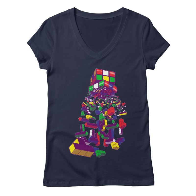 The God Cube Women's V-Neck by The Salty Studios @ Threadless