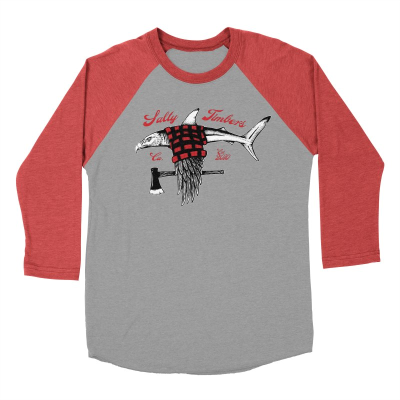 Beastie in Men's Baseball Triblend T-Shirt Chili Red Sleeves by