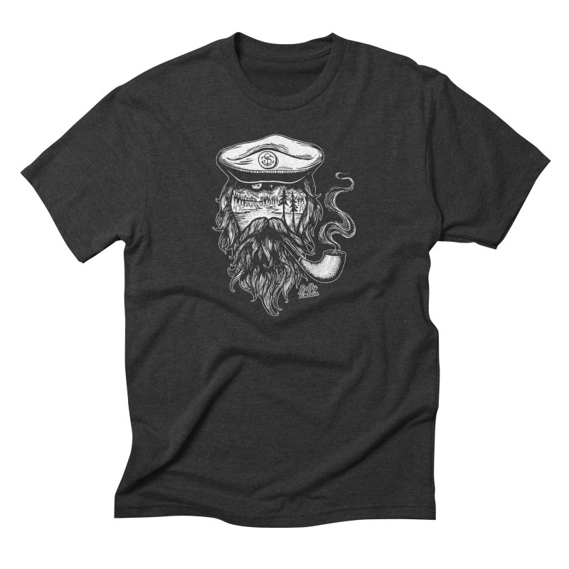 Captain (white) in Men's Triblend T-Shirt Heather Onyx by