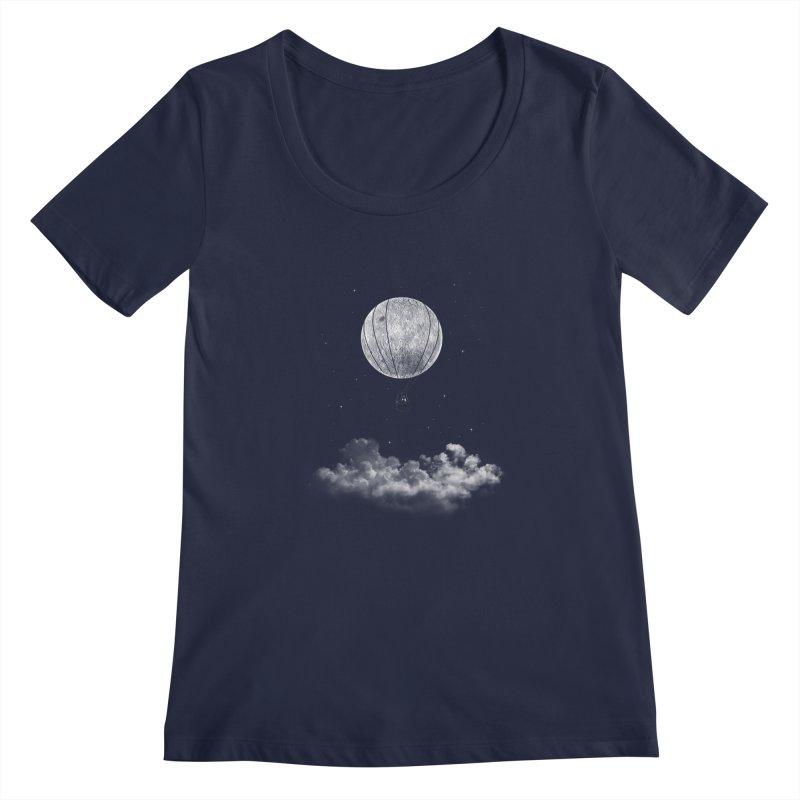 moon Traveler Women's Scoopneck by samalope's Artist Shop