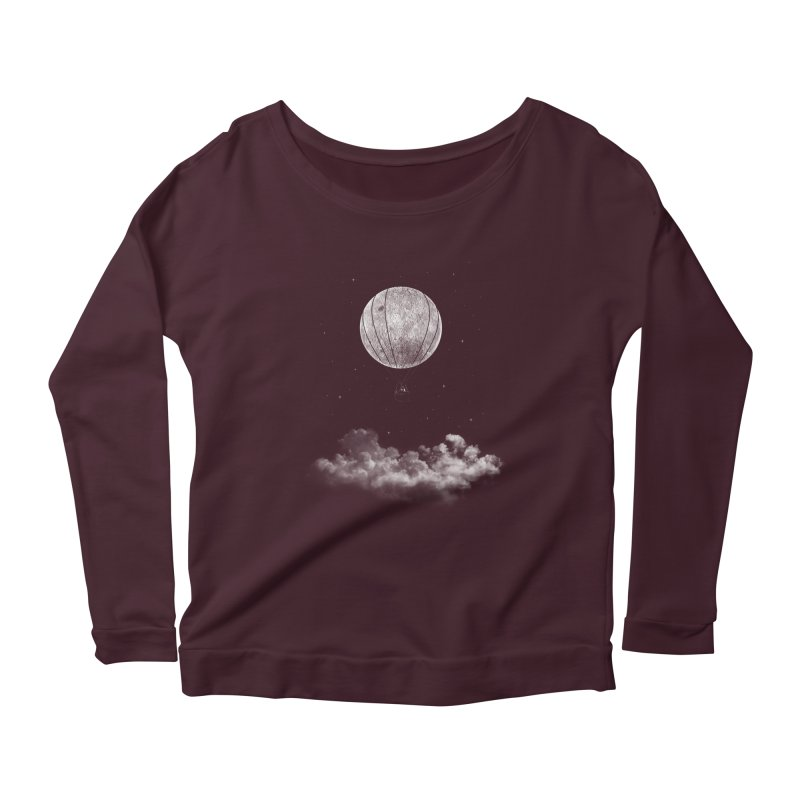 moon Traveler Women's Longsleeve Scoopneck  by samalope's Artist Shop