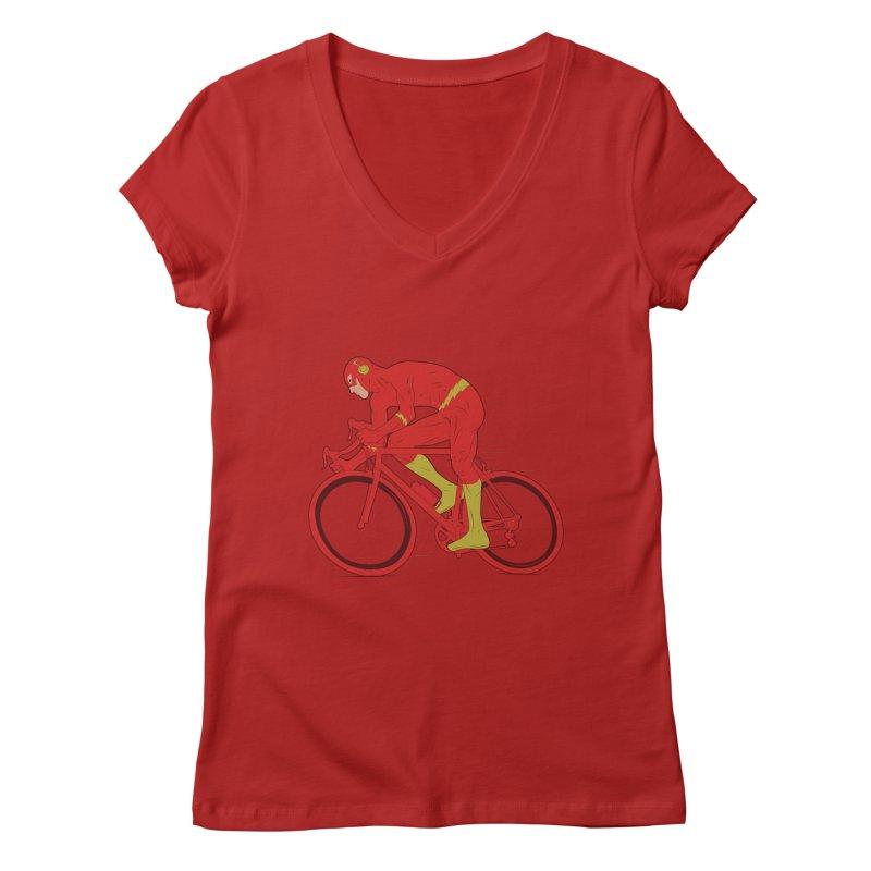 flash bike Women's V-Neck by samalope's Artist Shop