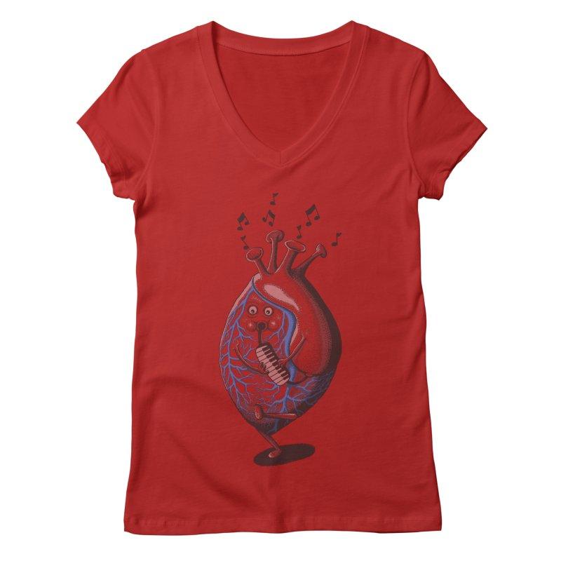 rhythm of my heart Women's V-Neck by samalope's Artist Shop